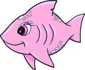 Illustrazione vettoriale di ragazza rosa squalo oceano estate — Vettoriale Stock