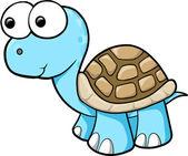 Silly Blue Turtle Animal Wildlife Vector Illustration Art — Stock Vector