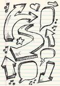 Doodle Sketch Speech Bubble Arrow Vector Illustration Set — Stock Vector