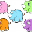 Cute Rhino Safari Animal Vector Set — Stock Vector