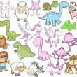 Cute Animal Vector Illustration Set — Stock Vector