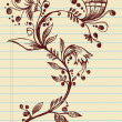 Sketchy Doodle Elegant Flowers and Vines Hand Drawn Vector — 图库矢量图片