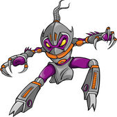 Ninja Cyborg Robotic Warrior Vector Illustration — Stock Vector