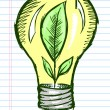 Doodle Sketch Light Bulb with Plant inside Vector Art — Stock Vector