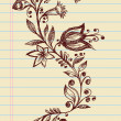Sketchy Doodle Elegant Flowers and Vines Hand Drawn Vector — Stock Vector #9737310