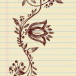 Sketchy Doodle Elegant Flowers and Vines Hand Drawn Vector — Stock Vector