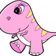 Cute Girl Pink Dinosaur Animal Vector Illustration Art — Stock Vector