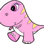 Cute Girl Pink Dinosaur Animal Vector Illustration Art — Stock Vector #9737328