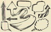 Sketchy doodle Arrows and Speech bubble Vector Set — Stock Vector