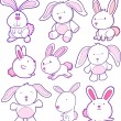 Stock Vector: Easter Bunny Rabbit Vector Set