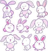 复活节兔子矢量集 — 图库矢量图片