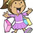 Happy Cute Shopping Girl Vector Illustration - Imagen vectorial
