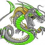 Green Robot Cyborg Dragon Vector Illustration art — Stock Vector #9938790