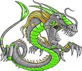 Green Robot Cyborg Dragon Vector Illustration art — Stock Vector