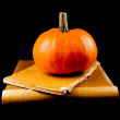 图库照片: Pumpkin with two old books - Halloween