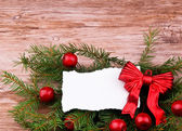 Röd christmas krans — Stockfoto