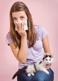 Allergic to cat — Stock Photo