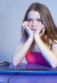 Tired teenage girl — Stock Photo