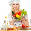 Cook with vegetables — Stock Photo