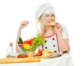 Girl cook with lemon — Stock Photo