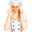 Girl cook with pepper rings — Stock Photo