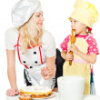 Two chefs rubs cream cake — Stock Photo