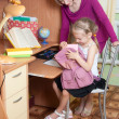 Girl makes lessons — Stock Photo