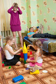 Mom upset by mess — Stock Photo