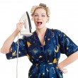 The housewife with the iron — Stock Photo