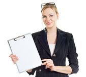 Affärskvinna med mapp — Stockfoto
