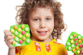 The girl keeps vitamins — Stock Photo