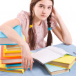 The girl with books — Stock Photo