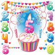 Numbered birthday candles and cake — Vector de stock