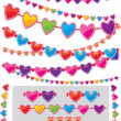 Pattern brash - garland of hearts — Stock Vector