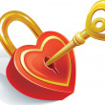 Key and lock in heart shape — Stock Vector