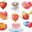 Stock Vector: Heart-shaped set