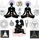 Chakren und esoterische Symbole — Stockvektor