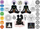 Chakras and esoteric symbols — Stock Vector