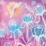 花アイリスと背景 — ストックベクタ