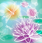 Background with flowers lotus and dragonfly — Stock Vector