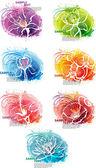 Conjunto de banner con cabezas de flores — Vector de stock