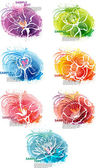 Set of banner with flower heads — Vector de stock