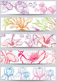 Banery z kwiatem — Wektor stockowy