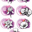 Vector de stock : Stickers with heads of the flowers