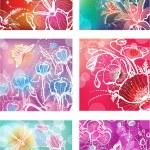 conjunto de ilustrações com flores — Vetorial Stock