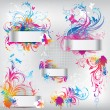 set van banners met florale ornament — Stockvector
