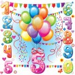 Stock Vector: Happy Birthday balloons and numbers