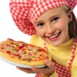 Little girl with pizza — Stock Photo #7976706