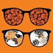 Retro sunglasses with pumpkins reflection in it. — Stock Vector
