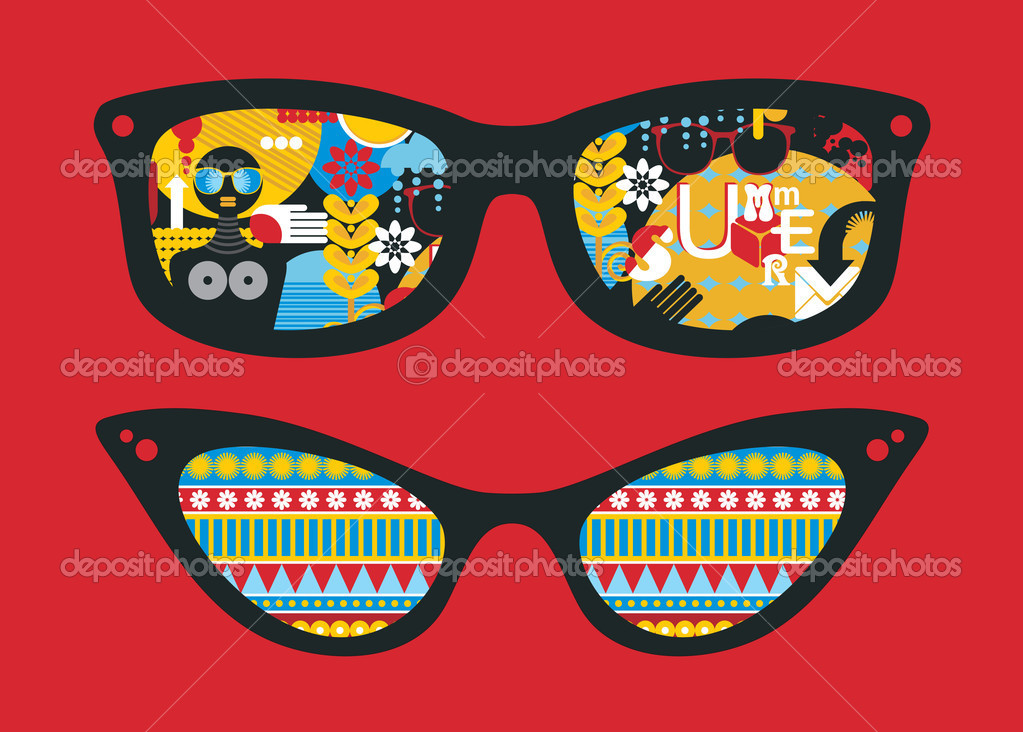 Retro sunglasses with summer reflection in it. Vector illustration of accessory - eyeglasses isolated for man and for woman. — Stock Vector #10195452